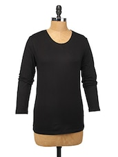 Black Cotton Lycra Full-sleeve Top - Change360��