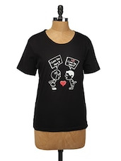 Graphic Print Black Cotton Top - Change360