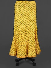 Yellow Leheriya Print Cotton Long Skirt - Rangsthali