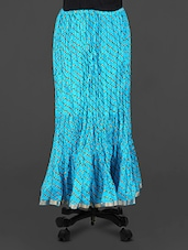 Blue Leheriya Print Cotton Long Skirt - Rangsthali