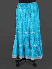 Blue Lace Border Long Skirt - Rangsthali