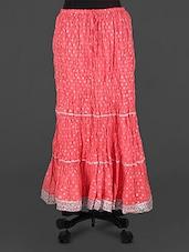 Peach Lace Border Long Skirt - Rangsthali