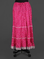 Pink Lace Border Long Skirt - Rangsthali