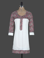 Round Neck Printed Sleeves Cotton Kurta - Nikunj