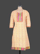 Quarter Sleeves Chevron Print Cotton Kurta - Rajasthan Fashions