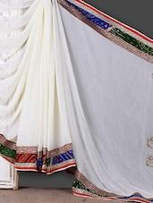 Cream Printed Border Saree - Khushi