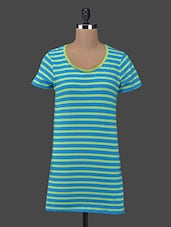 Blue & Lime Striped Shift Dress - Sera