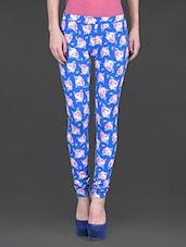 Floral Print Blue Cotton Leggings - Sera