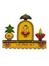 Yellow Embellished Ganesha Key Holder - By