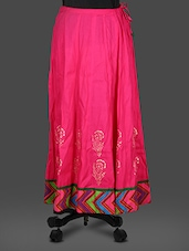 Pink Rayon Block  Print Long Skirt - Inblue Fashions
