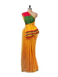 Yellow Raw Silk Saree - Uppada