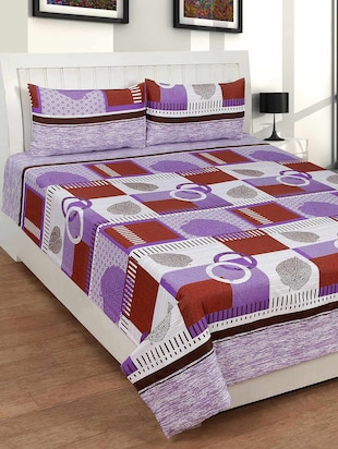 Bsb Trendz Cotton Double Bed Sheet With 2 Pillow Covers