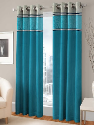 BSB TRENDZ EYELET AQUA DOOR CURTAIN PS-135