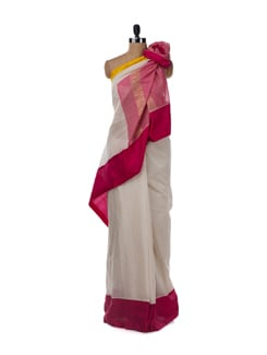 Classic White Saree With Pink And Yellow Border - Uppada