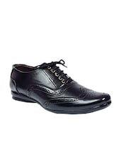 Black Leatherette lace up brouge -  online shopping for Brouges