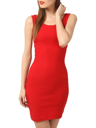 red polyster bodycon dress