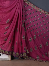 Wine peacock border embroidered  georgette saree available at Limeroad for Rs.21790