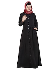 Black polycrepe abaya with waist belt -  online shopping for cloaks & abaya