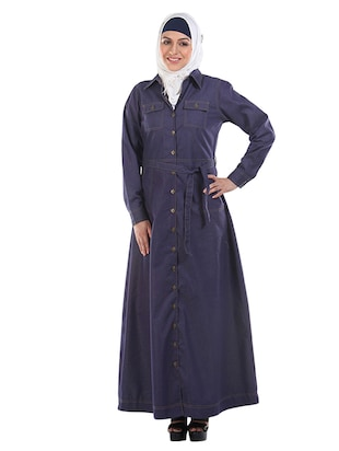 Navy Blue Full Front Buttoned Denim Abaya