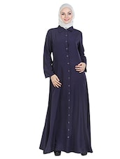 Navy Blue Full Front Buttoned Abaya -  online shopping for cloaks & abaya