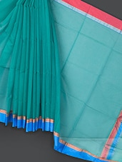 Sea Green Cotton And Art Silk Saree - Prabha Creations