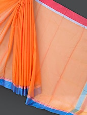 Orange Cotton And Art Silk Saree - Prabha Creations