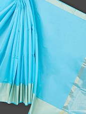Blue Cotton Art Silk Saree - Prabha Creations