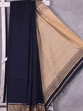 Navy Blue Pattli With Beige Pallu Cotton Saree - Ruplekha Fashion