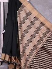 Half & Half Black & Golden Cotton Saree - Ruplekha Fashion