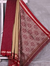 Red-Beige Ghincha Pallu Work Cotton Saree - Ruplekha Fashion
