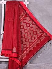Red Kantha Embroidery Handloom Cotton Silk Saree - Ruplekha Fashion