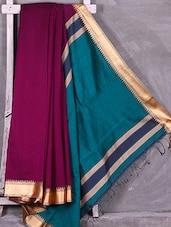 Contrast Green Pallu Wine Cotton Silk Saree - Ruplekha Fashion