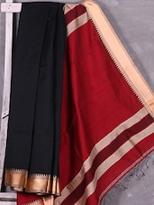 Black  Handloom Cotton Silk Saree With Red Pallu - Ruplekha Fashion