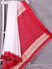 Classic White With Red Border Cotton Silk Saree - Ruplekha Fashion