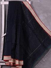 Navy Blue Bordered  Silk Blend Saree - Ruplekha Fashion