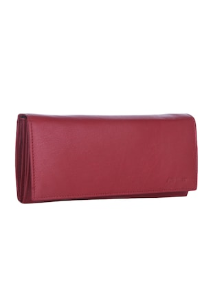 Solid Red Leather Wallet