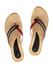 Toe Separator Red & Black Strap Slip On Flats - KZ Classics