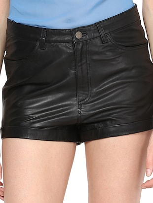 Genuine Leather Solid Black Shorts