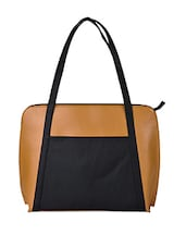 Color Block Leatherette Shoulder Bag - AVX