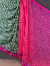 Pink And Green Printed Georgette Saree - Rajtex Fabrics
