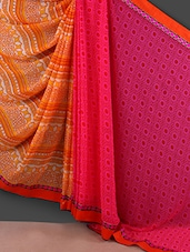 Pink And Orange Printed Georgette Saree - Rajtex Fabrics