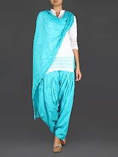 Sky Blue Cotton Patiala And Dupatta Set - Bhagwati Patialas