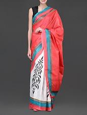 White And Red Printed Silk Saree - Designerz Hub