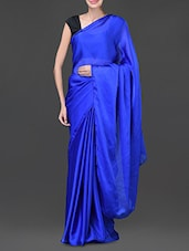 Royal Blue Satin Chiffon Saree - Designerz Hub