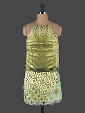 Green Halter Neck Printed Dress - Muse Couture