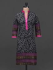 Printed Mandarin Collar Cotton Kurta - Lady In Red