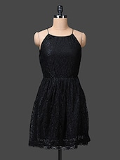 Black Halter Neck Lacy Dress - The Vanca
