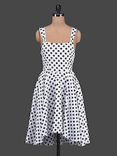 Monochrome Polka Dots Printed Dress - The Vanca