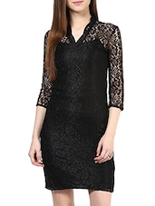 Solid Black Color Floral Lace Detailed Dress - By