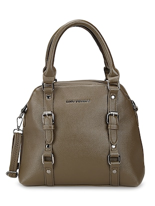 olive leatherette regular handbag